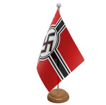GERMAN WWII (NAZI) - TABLE FLAG WITH WOODEN BASE